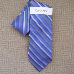 New CALVIN KLEIN Blue Striped NECK TIE *100% Silk*